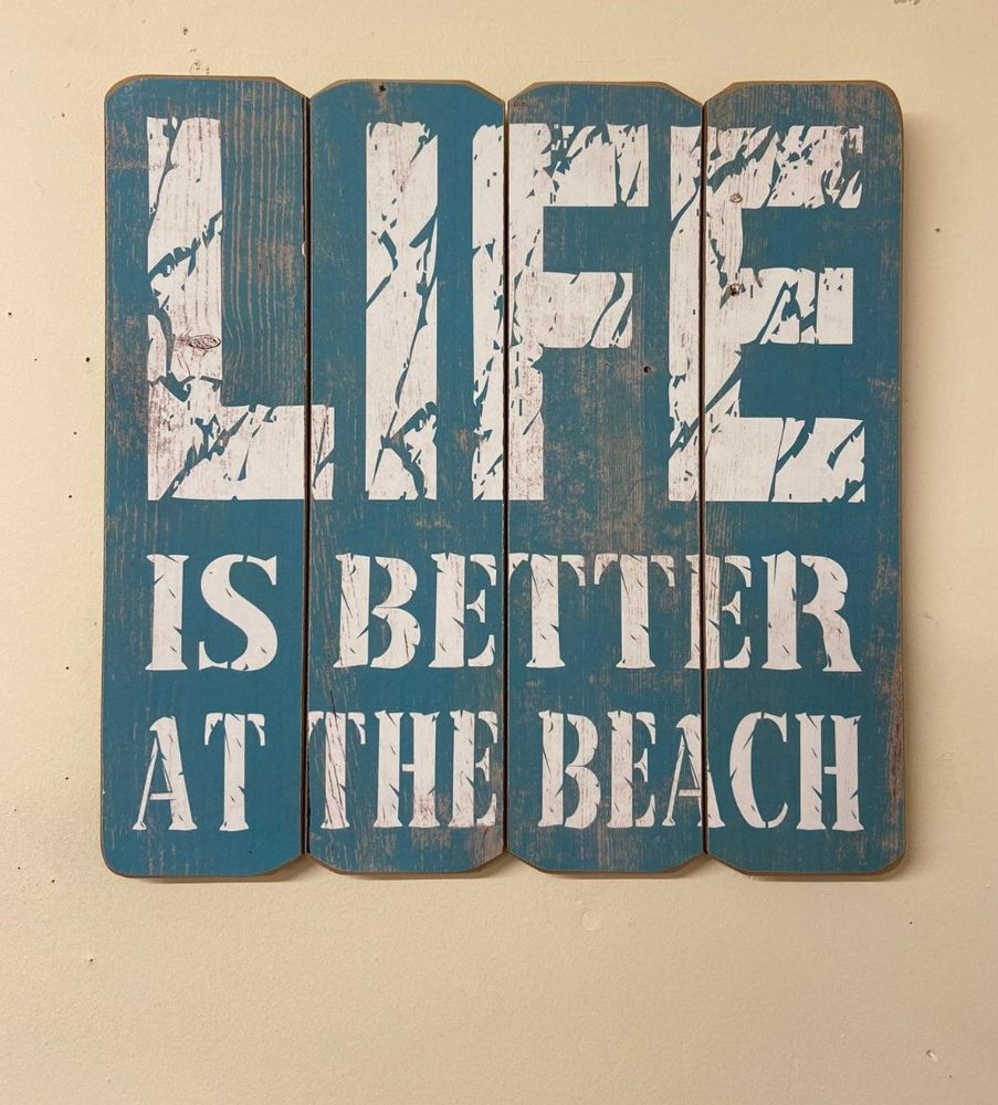Blue Life Is Better At The Beach 40cm Wooden Quote Wall Art